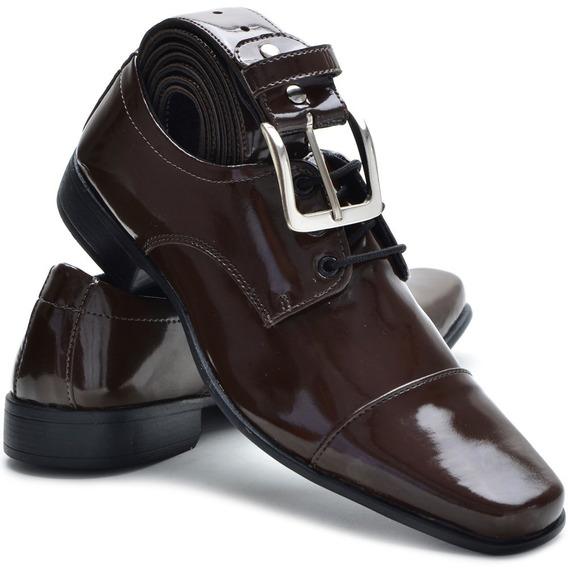 Sapato Social Masculino Couro Ecológico Amarrar + Brinde