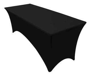 Mantel Rectangular Elasticado Mesa Plegable Negro R3032