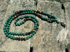 Colar Japamala Pedra Natural Malaquita Olho De Tigre 108cont