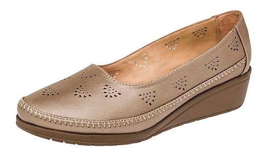 Zapato Piso Capricho Dorado Cuña 4cm Piel Mujer D66938 Udt