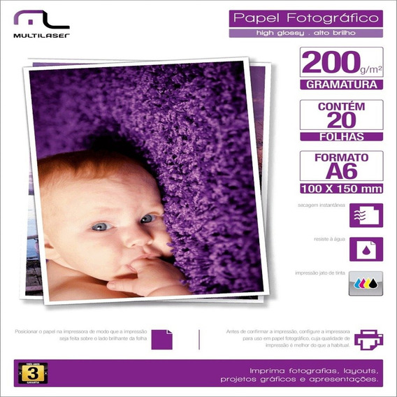 Papel Fotográfico Multilaser A4 C/10 Folhas Branco Pe011