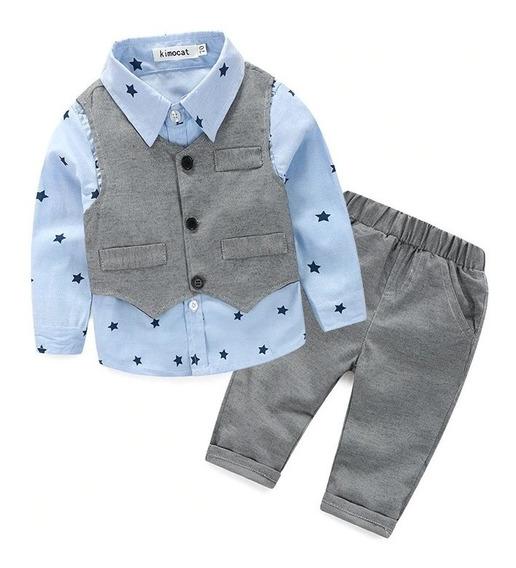 Traje De Bebe Elegante Con Camisa Chaleco Y Pantalon
