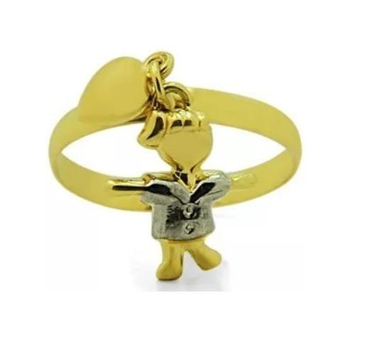 Anel De Ouro 18k + 1 Pingente Menininha + Berloque Coração