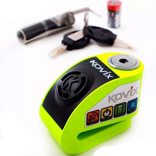 Candado Kovix Kd6 C/alarma  Moto Verde + Base + Recordatorio