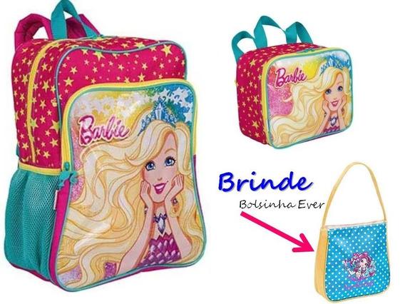 Kit Mochila G + Lancheira Barbie 19m Plus Sestini + Brinde