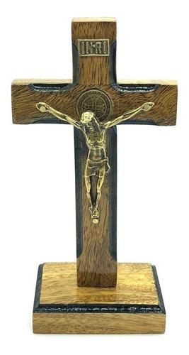 Crucifixo Mesa Cruz Sagrada Medalha São Bento 13cm Stlr 04