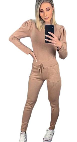 Conjunto De Calça E Blusa Tricot Modal Confortavel Original