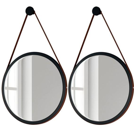 Kit 02 Espelhos Redondos Decorativo Adnet Escandinavo Com Alça De Couro 54 Cm Nix - Lyam Decor