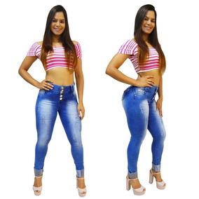 Calça Jeans Feminina Via7 Levanta Bumbum Detalhe Barra 10351