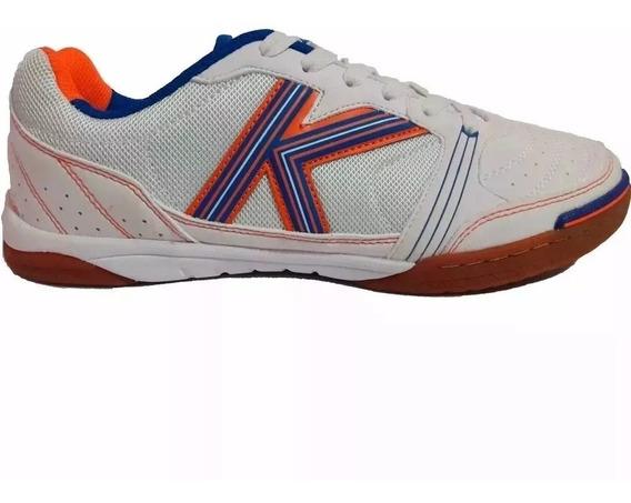 Tenis Futsal Kelme Millenium Branco/laranja/azul-original