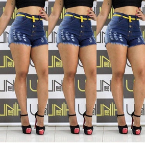 Short Shortiho Jeans Sarja Feminino Verão Hot Pants