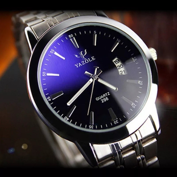 Relógio Yazole 296 Masculino Data Mostrador Preto Aço Inox