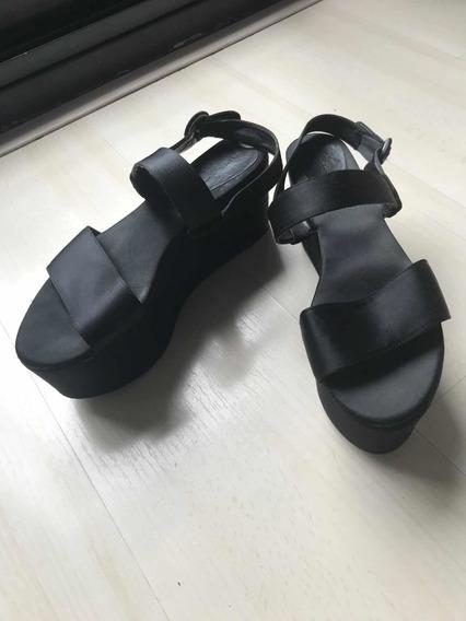 Sandalias Con Plataforma Zara De Raso Talle 38