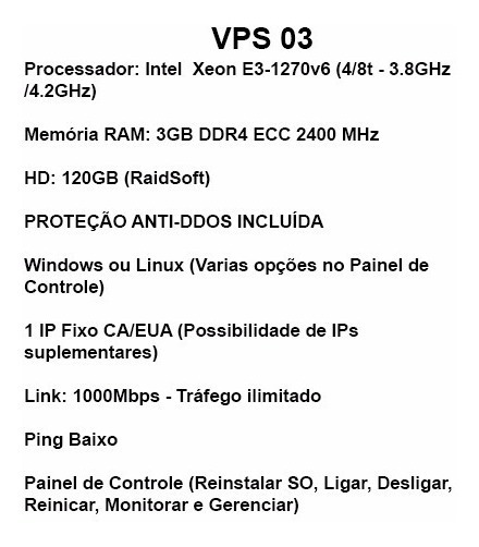 Servidor Vps Windows Linux - 3gb - 4ghz - 1gbps - Ilimitado