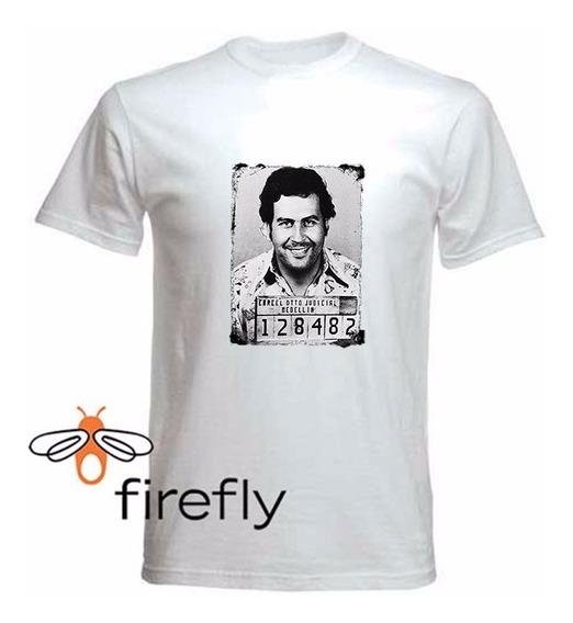 Remera Pablo Escobar Hombre Blanca Coleccion 1 Firefly