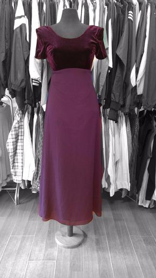 Vestido Importado Elegante Aterciopelado Color Borravino T.6