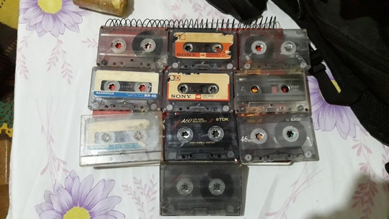 Fitas De Audio Cassete Lote Com 10 Fitas K-7 Gravadas Usadas