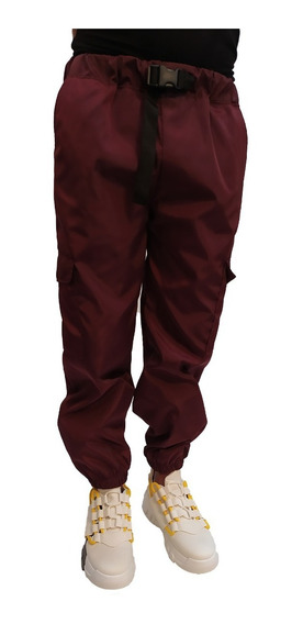 Pantalon Joggers Hip Hop Con Cinturon Cargo Vino