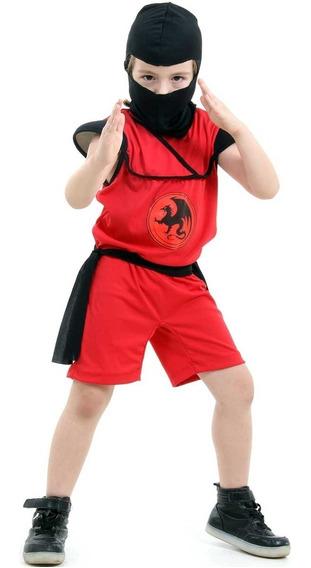 Roupa Guerreiro Samurai Ninja Macacão Curto C/ Dragão Menino