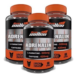 3x Adrenalin Cafeína L-carnitina Seca Barriga - New Millen