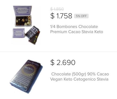 1/4 Bombones Chocolate Keto + 5 Tabletas 90% Cacao (500gr)