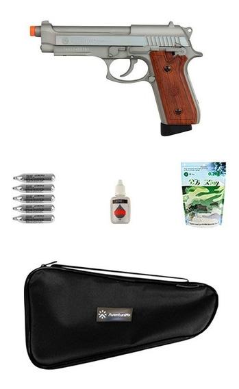 Pistola Airsoft Taurus Pt92 Hairline Silver Gbb + Acessórios