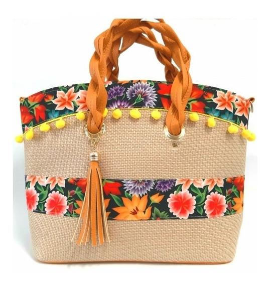 Bolsa Artesanal Mod 5124 Flores Fabricantes Mayoreo Pompones