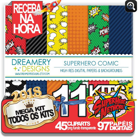 Super Heróis Comic +10kits Img Fundo Artes Personalizadas