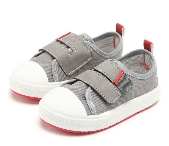 Tênis Infantil Pimpolho Velcro Cinza