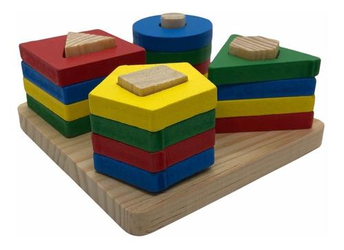 Imagen 1 de 10 de Apilable Encastre Geométrico Formas Y Colores De Madera Niño