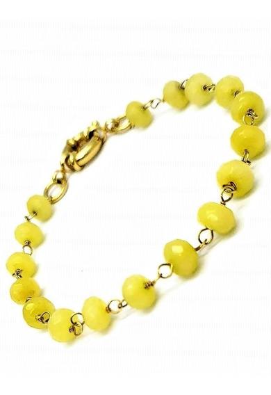 Pulseira Quartzo Amarelo Pedra Natural Banho Ouro 18k 1268