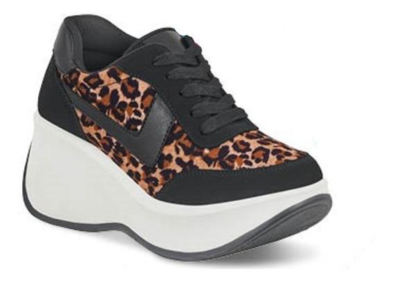 Tenis Sneakers Dama Mujer Moda Plataforma 7.5 Cm Negro Suav