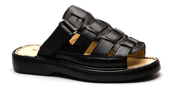 Chinelo Masculino 323 Em Couro Floater Preto Doctor Shoes