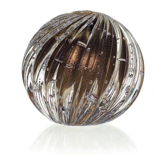 Esfera Cristal Murano Atys - Cor Ônix C/ Ouro