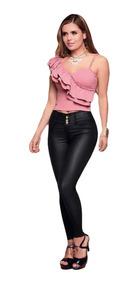 Pantalón Efecto Cuero Outfit 726 Para Mujer Negro
