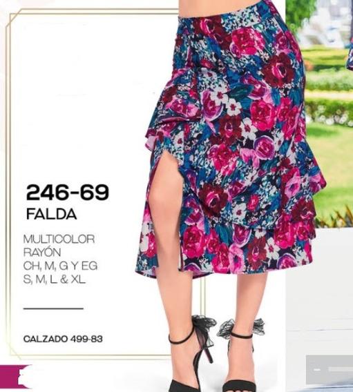 Falda Casual Dama Multicolor 246-69 Cklass 1-20 J