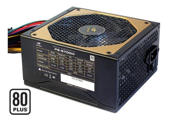 Fonte Atx 700w Reais C3tech Ps-g700m 80 Plus Pfc Ativo