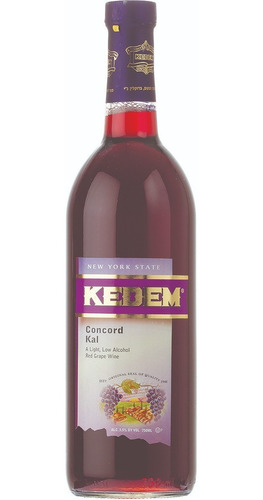 Imagen 1 de 5 de Vino Tinto Dulce Tradicional Concord Kal 3.5% Kosher Kedem