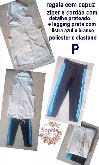 Conjunto Fitness Duas Peças Legging Curta E Blusas