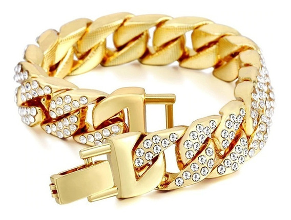 Pulsera Iced Out Diamantada Color Oro Laminado Hip Hop 14mm