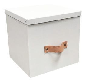 Caja Organizadora Decorativa Blanca Manija Cuero 30x30x30cm