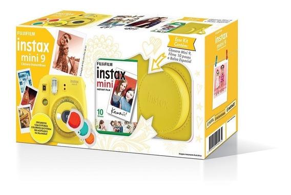 Kit Camera Instax Mini 9 Amarelo Banana + Bolsa E Filme