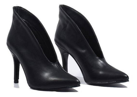 Zapatos Stilettos Botineta Botas Abiertas Taco Fino