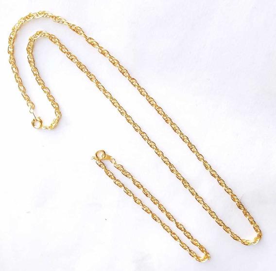 Conjunto De Collar Y Pulsera Bañada En Oro