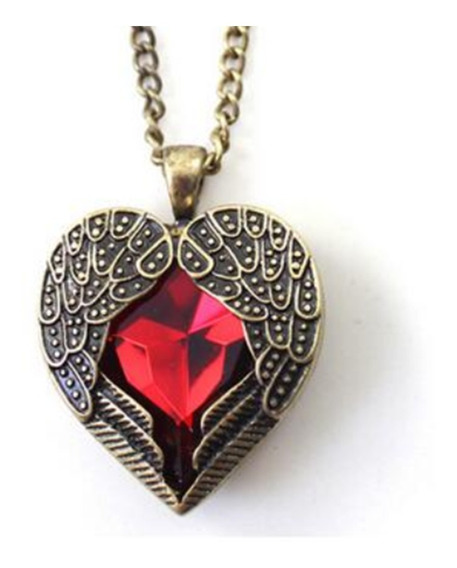Colar Feminino Asas Coração De Cristal Vermelho