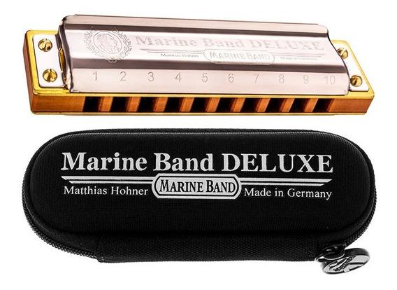 Gaita Harmônica Hohner Marine Band Deluxe Em Lá Com Estojo