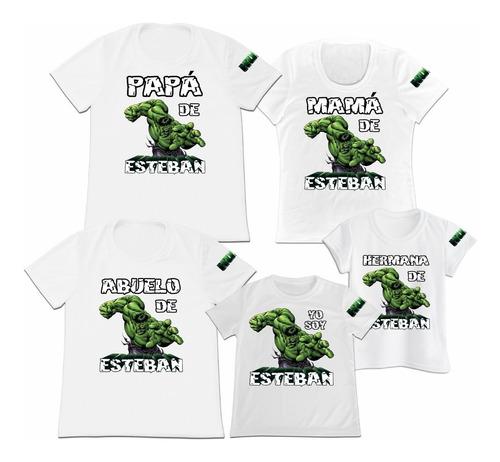 Camiseta Set 5 Familia Mama Papa Hijo Hulk Personalizada