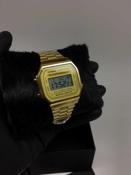 Relogio Casio Unisex A168 Retrô Vintage Dourado A168wa-1wcr