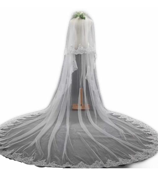 Velo Mantila Vestido De Novia Medida 3x3.5 M Ivory Blanco