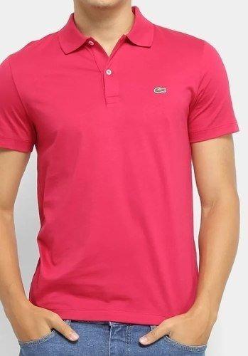 Camiseta Lacoste Gola Polo Rosa Lisa Masculina Fúcsia Promo